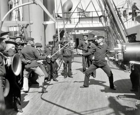 Treino de espada, USS Newark, 1900, History in Pictures.