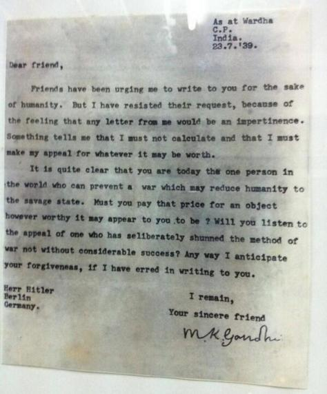A letter from Gandhi to Hitler, written in July 1939. Historical Pics.