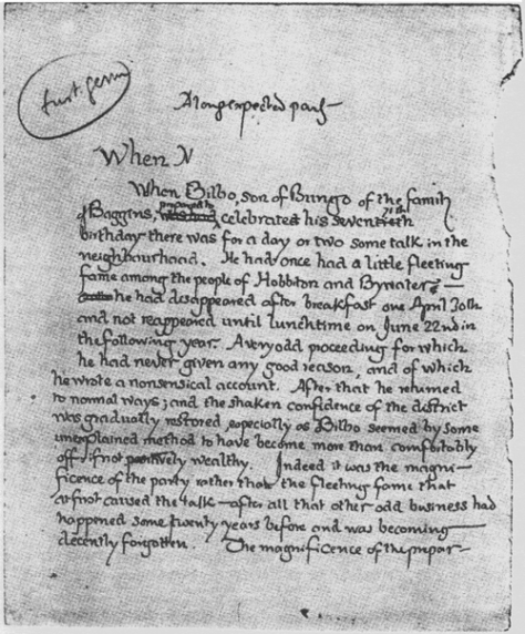 J.R.R. Tolkien's original first page for Lord of the Rings, 1937. Classic Pics.