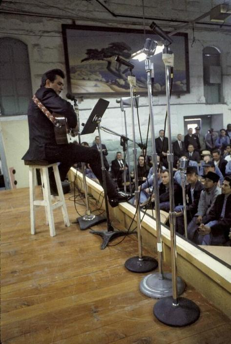 Johnny Cash performing Folsom Prison Blues, 1968. Historical Pics.