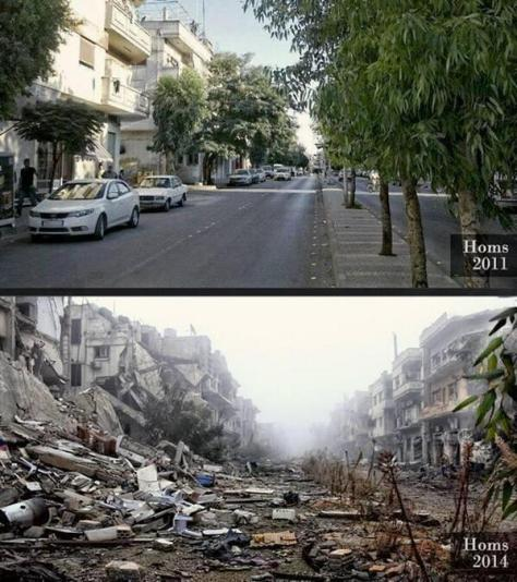 The same street in Homs, Syria in 2011 and 2013. Pics with a Story.