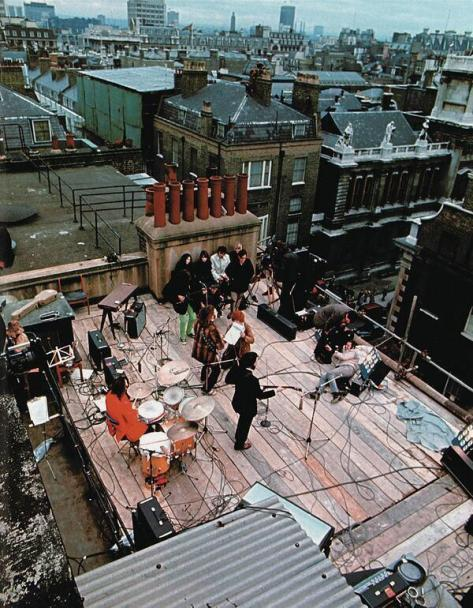 The Beatles' last live performance together on the rooftop of Apple Records headquarters in London, Abbey Road, 1969.  Classic Pics.