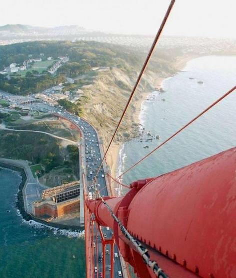 This is the view from the top of the Golden Gate Bridge. Earth Pics.
