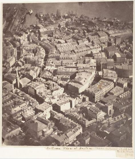 13 october 1860 - 1st aerial photo taken in US (from a balloon), Boston. Classic Pics.
