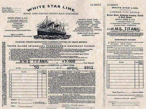 Ticket for the Titanic, 1912. History in Pictures.