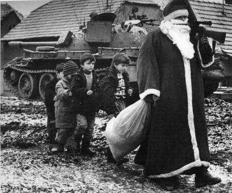 Santa Claus with the children during Croatian War. Vukovar, 1992. History in Pictures.