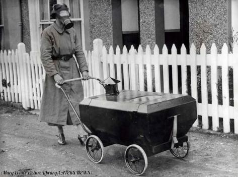 A woman with a gas-resistant pram, England, 1938. History in Pictures.