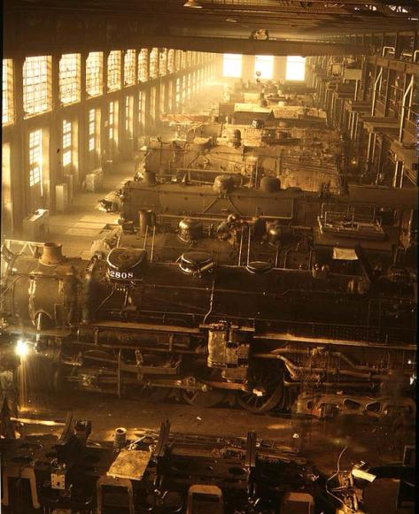 Locomotives in the Locomotive Shop of the Chicago and Northwestern Railroad, 1942. History in Pictures.