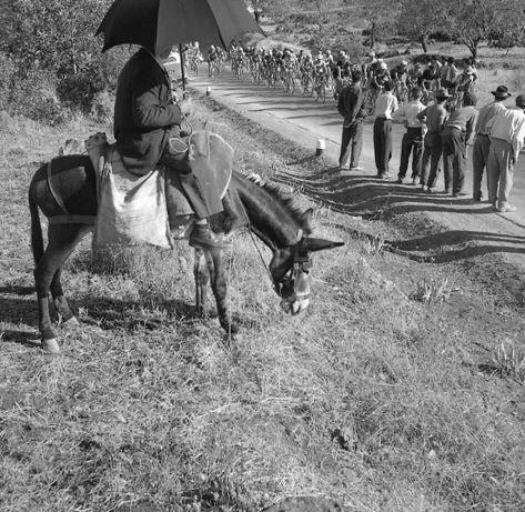 1960 - XXIII Volta a Portugal em Bicicleta. 14ª etapa Tavira - Ferreira do Alentejo. Público na berma da estrada vê passar o pelotão.