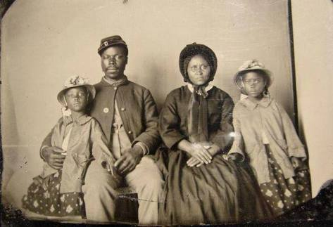 The only known photograph of an African American Union soldier with his family, circa 1863. Historical Pics.