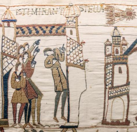 Aqui, eles vêem uma estrela (cometa), tapeçaria de Bayeux, a batalha de Hastings em 1066. Medievalisms.
