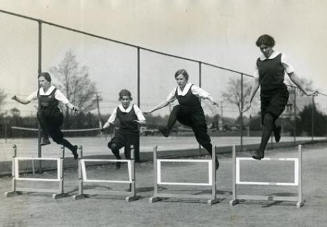 Hurdling at Wellesley College, 1928. Historical Sport.