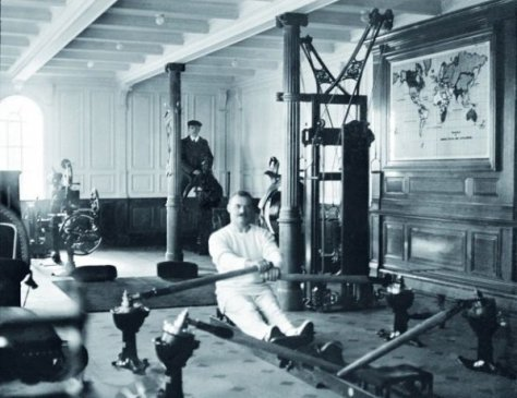 A gym abroad the Titanic, 1912, Classic Pics.