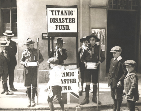 English Boy Scouts raising money for victims of the Titanic disaster, 1912. History in Pictures.