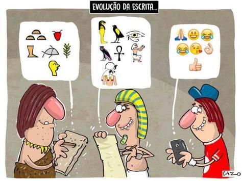 Evolução da escrita. Luiz Fernando Cazo. Jornal Ciência.