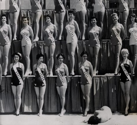 Miss New Zealand passes out from heat exhaustion, Miss Universe Competition, Long Beach, California 1954. Classic Pics.