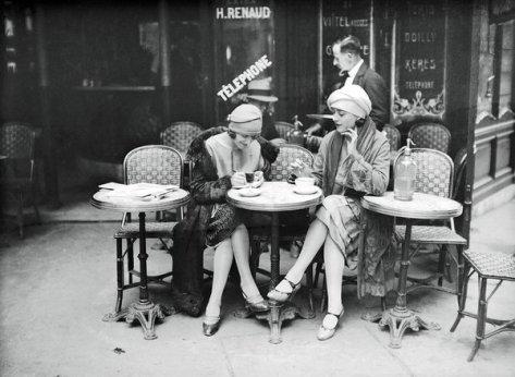 Terrace of café, Paris, circa 1925. Classic Pics.