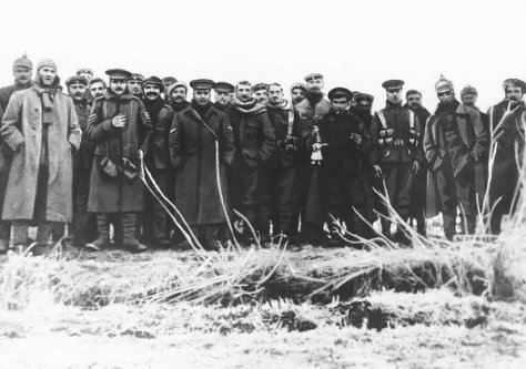 German and British troops celebrating Christmas together during the Christmas Truce, 100 years ago today. Historical Pictures.