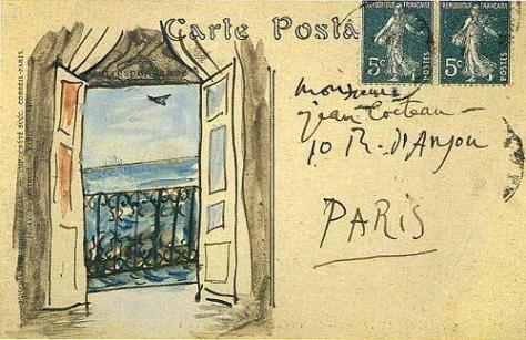 Postcard from Pablo Picasso to Jean Cocteau, 1919. History in Pictures.