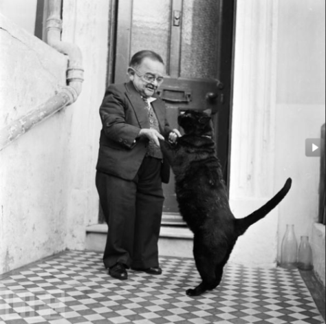 World's smallest man in 1956, Henry Behrens, dancing with his cat. Historical Pics.