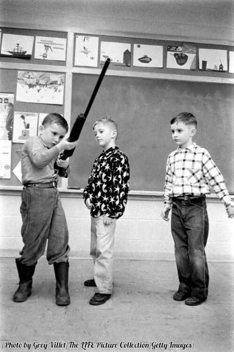 Indiana school children's class in gun safety, 1956. History in Pictures.