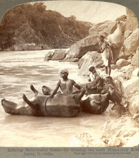 Inflating cow skins to use as boats in the Indian Himalayas, 1903. History in Pictures.