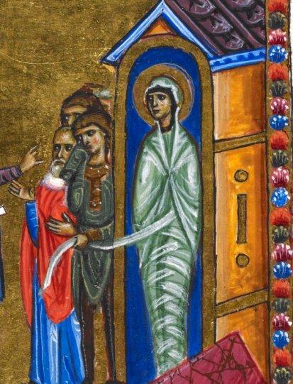 Lazarus, 'Melisende Psalter', Jerusalem 1131-1143 (BL, Egerton 1139, fol. 5r). Discarding images.