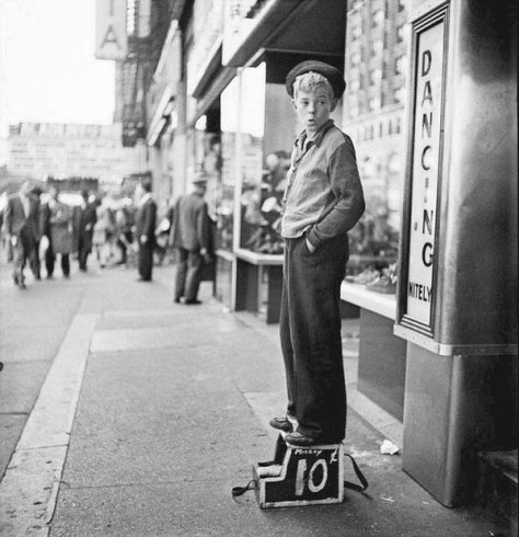 Mickey the shoeshine boy, New York, 1947. Photograph by Stanley Kubrick. History in Pictures.