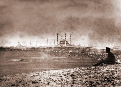 A Russian soldier looking over Selimiye Mosque in Edirne, Turkey, circa 1878. History in Pictures.