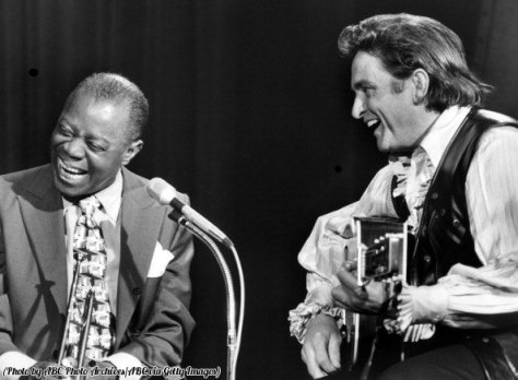 Louis Armstrong and Johnny Cash, 1970. Historical Pics.