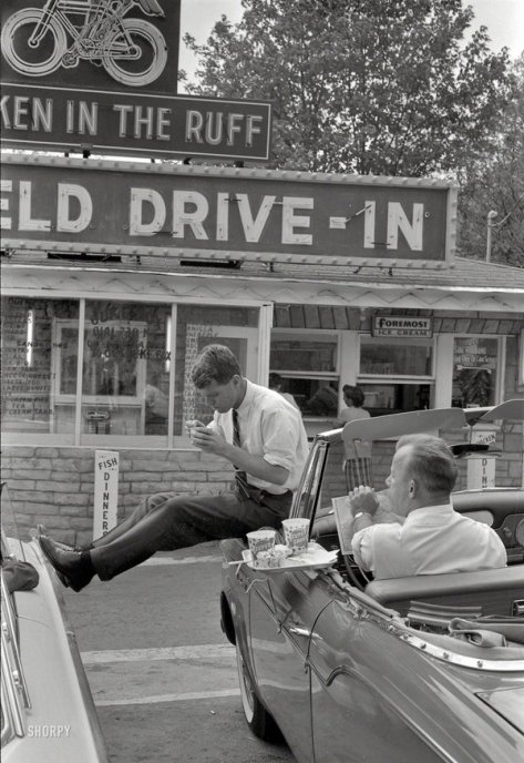 Robert Kennedy stops for lunch while campaigning for his brother in Bluefield WV, 1960. Classic Pics.
