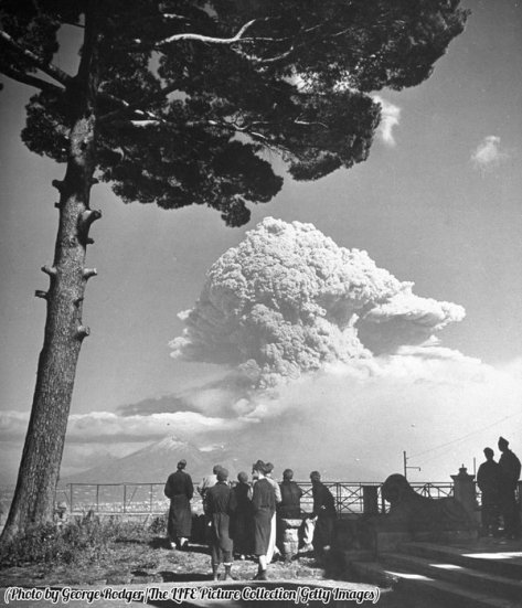 The eruption of Mount Vesuvius, 1944. Classic Pics.