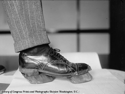 Cow shoes used by moonshiners during Prohibition to disguise their footprints, circa 1922. History in Pictures.
