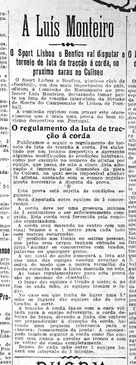 DNmemo -5.3.1928 - O Benfica forma uma equipa para disputar competições de tração à corda