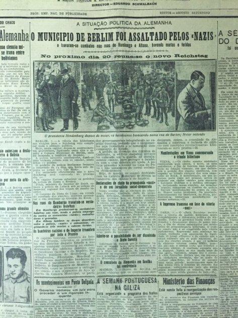 DNmemo - 8.3.1933- Nazis vencem eleições alemãs. Confrontos. Goebbels proclama vitória do racismo sobre o marxismo