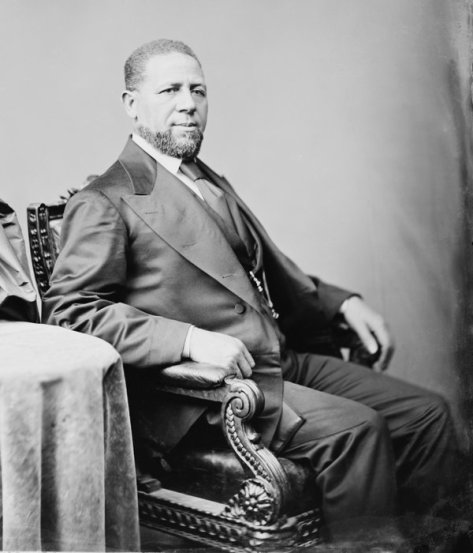 Senator Hiram Rhodes Revels, first African-American to sit in the US Senate. Photograph by Mathew Brady, circa 1870 . Classic Pics.