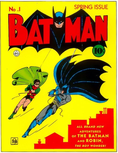 The first Batman comic, 1940. History in Pictures.