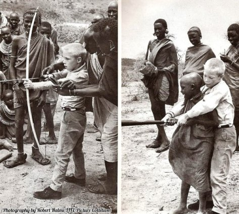 Two boys making a trade, Kenya, 1962. History in Pictures.