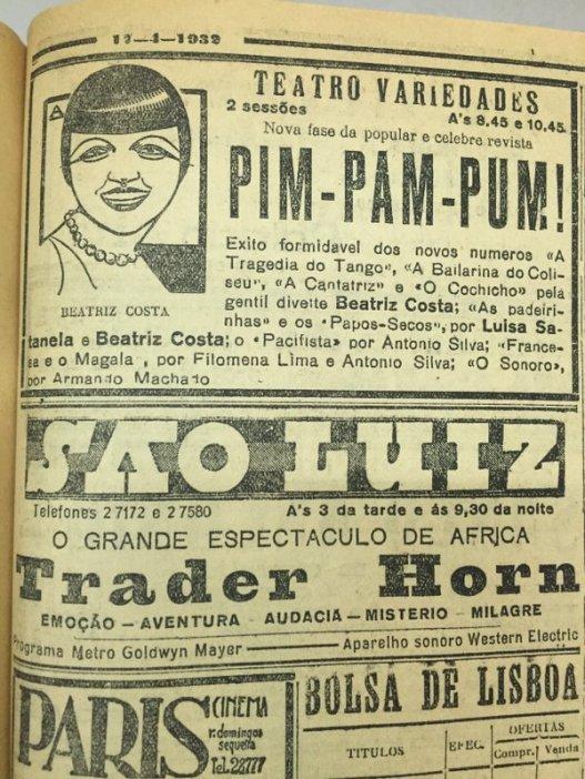 DNmemo (17.4.1932) Revista histórica do teatro português, Pim Pam Pum, com Beatriz Costa, renova alguns quadros