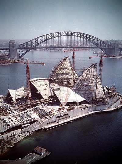 Sydney Opera House under construction, 1966. Photograph from the National Archives of Australia. History in Pictures.