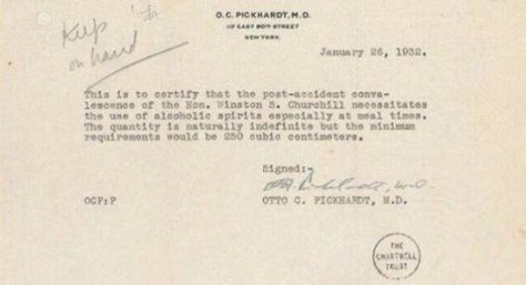 A note by Churchill's doctor for alcohol during his trip to America during prohibition. Old Pics Archive.