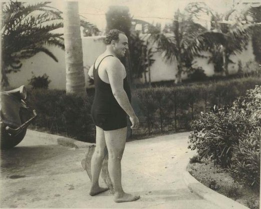Al Capone in a bathing suit at his Palm Island, Florida, 1929. Old Pics Archive.