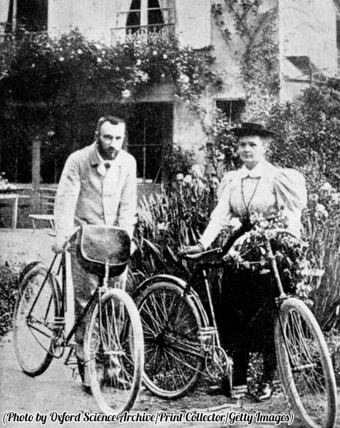 Pierre and Marie Skłodowska Curie, preparing to go cycling, circa 1890s. History in Pictures.