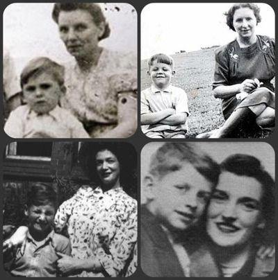 The Beatles and their mothers. George, Paul, John and Ringo. Musicians. Old Pics Archive.