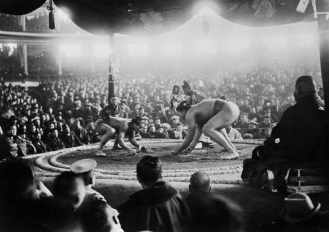 View of Sumo Wrestling Match, 1925, Tokyo, Japan. History in Pictures.