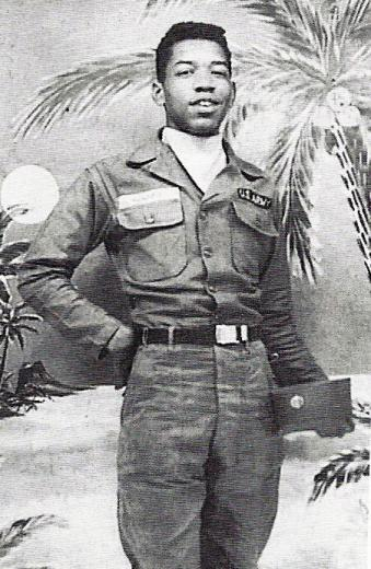 Jimi Hendrix in uniform during his time in the US Army, 1961. History in Pictures.