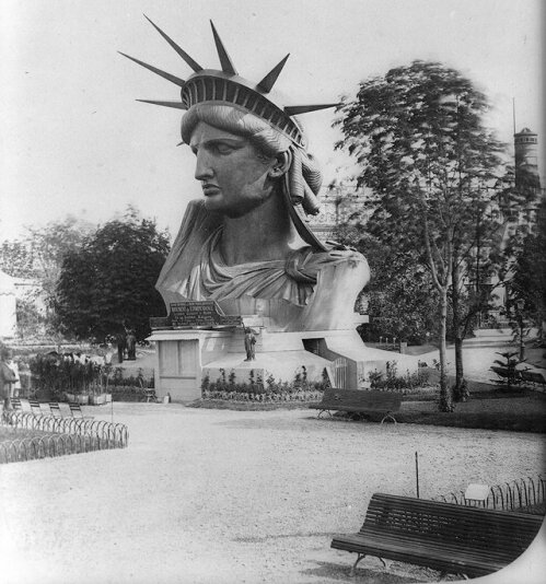 The Statue of Liberty at the 1878 Paris Worlds Fair. Old Pics Archive.