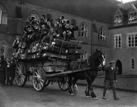 Schoolboys at Ardingly College, West Sussex, going home for Christmas. 1926. History in Pictures.