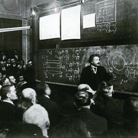 Albert Einstein lecturing on the Theory of Relativity, 1922. Old Pics Archive.