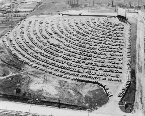 Drive-in theater, South Bend Indiana, 1950s. Old Pics Archive.